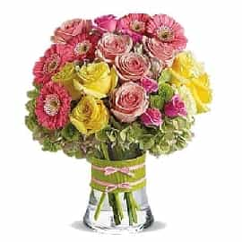 Bright Mix Flowers Vase