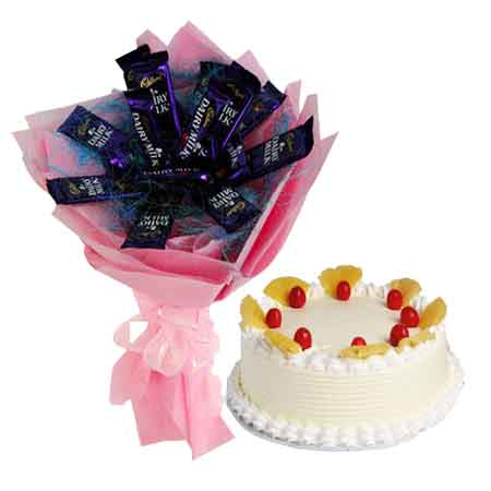 Send Cake N Chocolates Bouquet Delivery Online