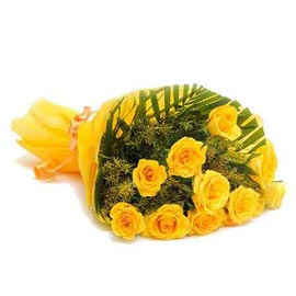 buy 10 Yellow roses designer Bunch Urgent Delivery