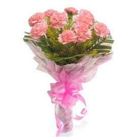 Send 10 Pink carnations Bunch Midnight Delivery