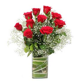 Send 10 Red roses glass Vase Same Day Delivery