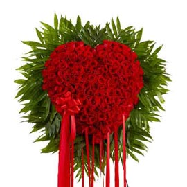 buy 100 Red roses Heart shape cane Basket Same Day Delivery