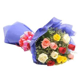 buy 12 mix roses blue paper Bunch Midnight Delivery