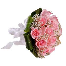 Send 12 light Pink roses Bunch Midnight Delivery