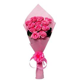 buy 12 dark Pink roses Pink paper Bunch Midnight Delivery