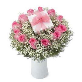Send 12 Pink roses glass Vase Midnight Delivery