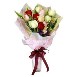 Send 12 mix roses glass Vase Same Day Delivery