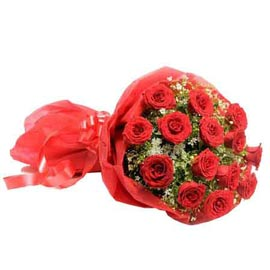 Send 15 Red roses Red paper Bunch Urgent Delivery