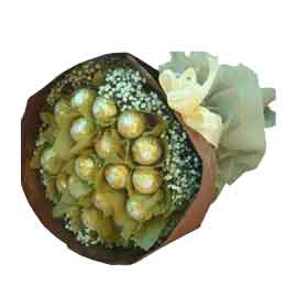 24 hrs Online 16 pcs Ferrero Rocher Bouquet Delivery