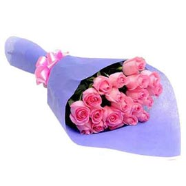 Send 20 Pink roses blue paper Bunch Urgent Delivery