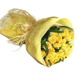 Send 24 Yellow roses paper Bunch Midnight Delivery