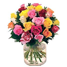 buy 25 mix roses glass Vase Urgent Delivery