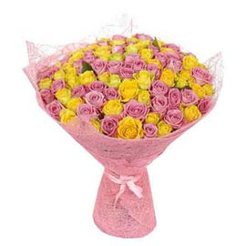 Send 50 mix roses jute packing Bunch Same Day Delivery