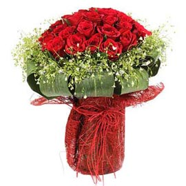 buy 50 Red roses glass Vase Urgent Delivery