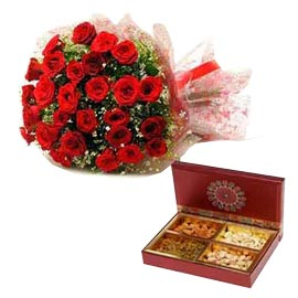 gift Red roses Bunch n Assorted Dry Fruits Hamper