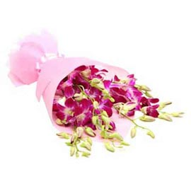 Send 6 purple orchids paper Bunch Urgent Delivery