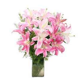 buy 8 Pink lilies glass Vase Urgent Delivery