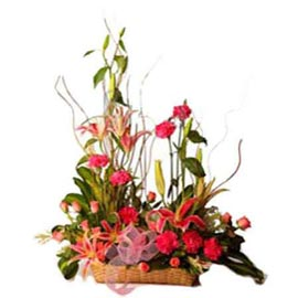 buy Red Yellow n Orange mix flowers Basket Midnight Delivery
