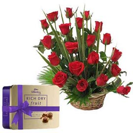 same day Online Red roses Basket n cadbury Chocolate box