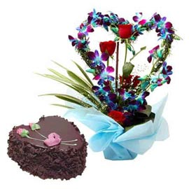 buy Online Chocolate Cake n mix flowers in glass Vase