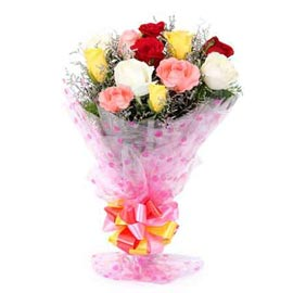 Send 12 mix roses Bunch Urgent Delivery