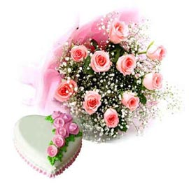 buy Online Pineapple Heart Cake n 10 Pink roses Bunch