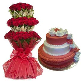 buy Online 4 Kg Pineapple Cake n 65 Red rose grand Bunch