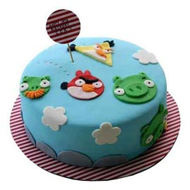 Send Online 1 Kg angry birds Vanilla Cake