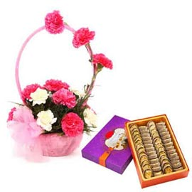 Send Online Half Kg anjeer barfi n mix carnations Basket