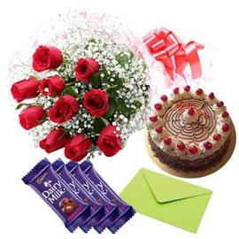gift Online cadbury Chocolates, Red roses n Butter Scotch Cake