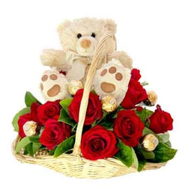 same day Online 20 Red roses, cute Teddy n Ferrero Rocher Chocolates pack