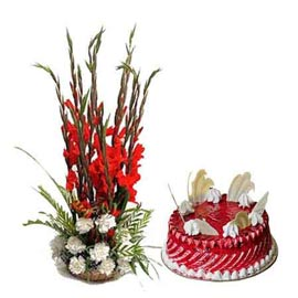 gift Online 1 Kg Strawberry Cake n mix flower Basket