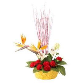 Send exotic bop lilies n carnations Basket Same Day Delivery