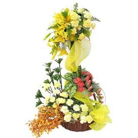 buy two tier mix flowers Basket 24 hrs Delivery