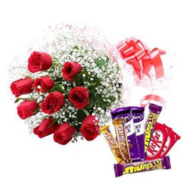 same day Online Red roses Bunch n Assorted Chocolates pack