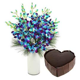 buy Online 1 Kg Chocolate Cake n orchids in Vase