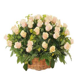 buy 25 White roses cane Basket Same Day Delivery