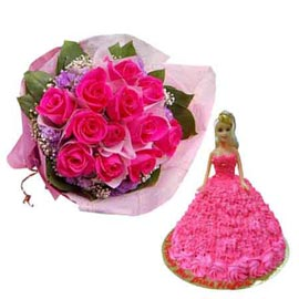 buy Online Pineapple Cake n 12 dark Pink roses paper Bunch