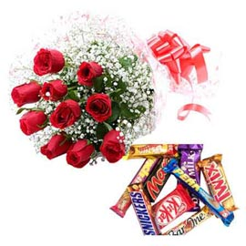same day Online Red roses Bunch n big Assorted Chocolates pack