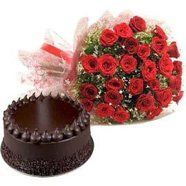 buy Online 1 Kg Chocolate Truffle Cake n 30 Red roses combo