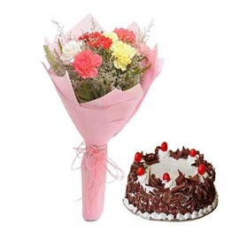 Send Online Black Forest Cake n mix carnations Bunch