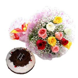 Send Online Black Forest Cake n mix roses Bunch