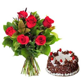 Send Online Black Forest Cake n 6 Red roses Bunch