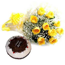 Send Online Black Forest n Yellow roses