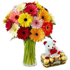 buy Online Ferrero Rocher, cute Teddy n mix gerberas Bunch