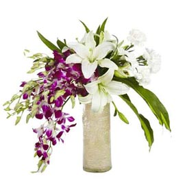 buy lilies, orchids & carnations glass Vase 24 hrs Delivery