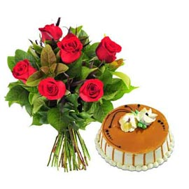 Send Online Butter Scotch n 6 Red roses Bunch