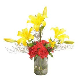 buy lilies n carnations Vase designer Arrangement Urgent Delivery