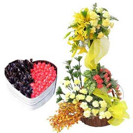 Send Online 1 Kg Black Forest Cake n mix flower Basket
