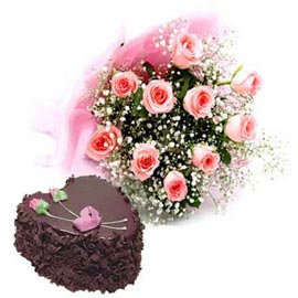 Send Online Chocolate Cake n Pink roses designer Bunch